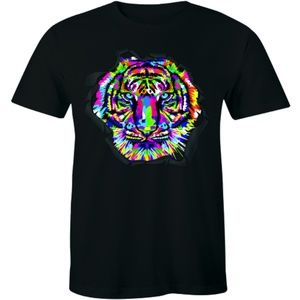 Colorful Tiger Face Shirt Neture Wild T-shirt Tee